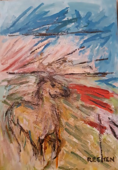 """Painting titled """"cheval au galop"""" by Michel Rajchenbach, Original Art, Acrylic"""