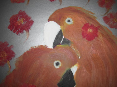 """Painting titled """"Parrots in Love"""" by Michela Curtis, Original Art, Oil"""