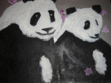 """Painting titled """"The Pandas and the…"""" by Michela Curtis, Original Art, Oil"""