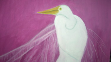 """Painting titled """"The Egret"""" by Michela Curtis, Original Art, Oil"""