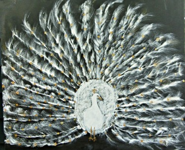 """Painting titled """"White and Gold Peac…"""" by Michela Curtis, Original Art, Oil"""