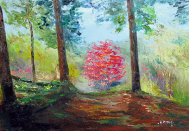 Tree Painting, oil, impressionism, artwork by Michel Hamelin
