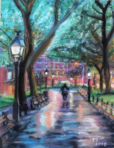 """Drawing titled """"Washington square"""" by Michel Prud'Homme, Original Art, Pastel"""