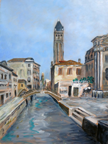 """Painting titled """"Grand canal, Venise"""" by Mickael Vadin, Original Art, Acrylic"""