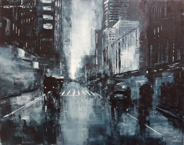 City Painting, oil, expressionism, artwork by Olga Mihailicenko