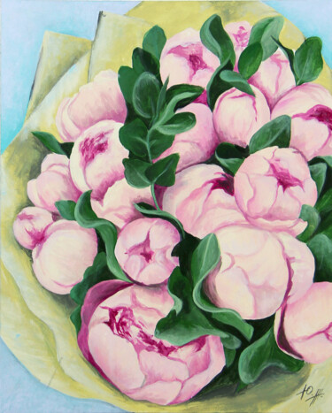 """Painting titled """"Pink peonies"""" by Miliart, Original Art, Acrylic Mounted on Stretcher frame"""