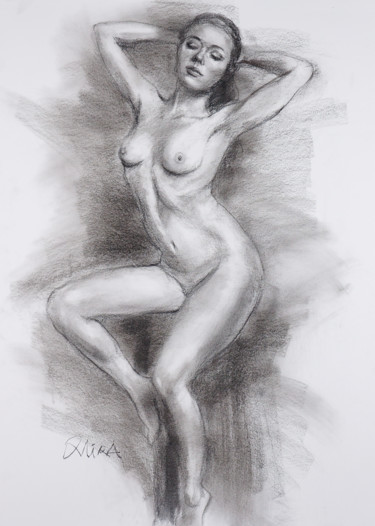 """Drawing titled """"Stretch"""" by Mira Chen, Original Art, Charcoal"""