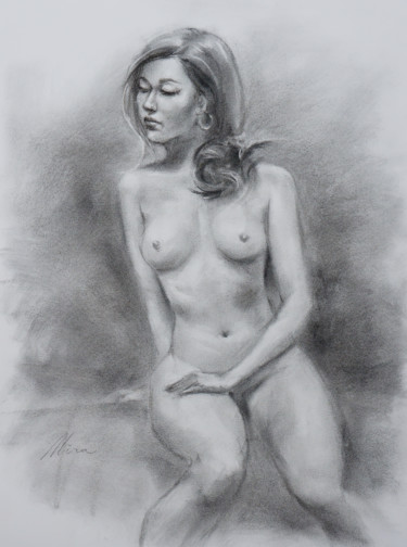 """Drawing titled """"Thinking of You"""" by Mira Chen, Original Art, Charcoal"""