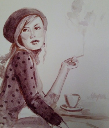 """Painting titled """"Coffe"""" by Mira Kovacevic (Wine Artist), Original Art, Watercolor"""