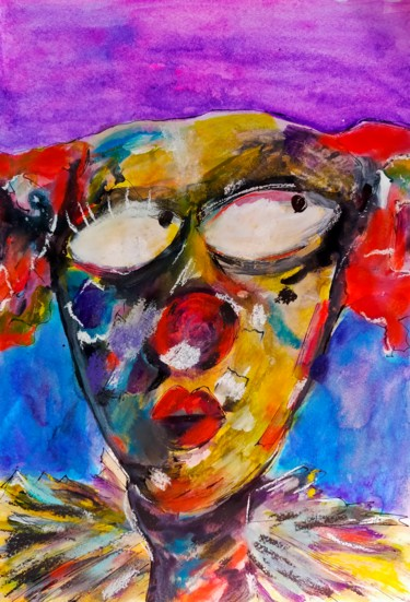 """Painting titled """"Sacred Clown"""" by Mia, Original Art, Acrylic"""