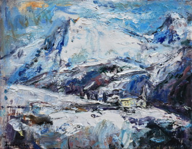 """Painting titled """"Snow in the Alps"""" by Misha Sydorenko, Original Art, Oil Mounted on Stretcher frame"""