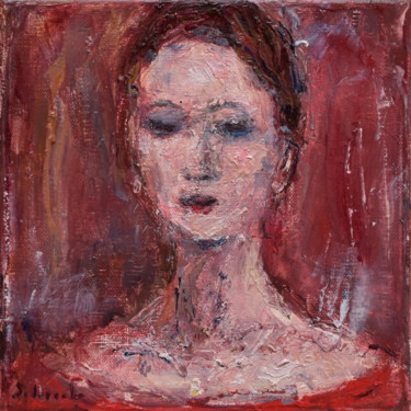 """Painting titled """"Woman in red"""" by Misha Sydorenko, Original Art, Oil Mounted on Stretcher frame"""