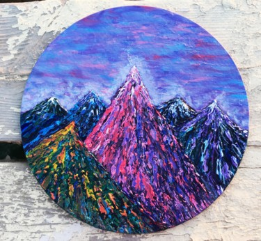 Mountainscape Painting, acrylic, impressionism, artwork by Olena Vasynovych (Miss Da Vinci)