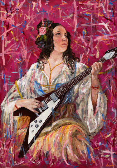 Guitar Painting, oil, figurative, artwork by Mk Anisko