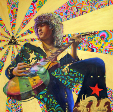 """Painting titled """"Jimmy Page"""" by Mk Anisko, Original Art, Oil"""
