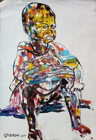 """Painting titled """"The little boy with…"""" by Jafeth Moiane, Original Art, Acrylic"""