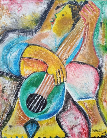 """Painting titled """"The guitar player p…"""" by Jafeth Moiane, Original Art, Oil"""