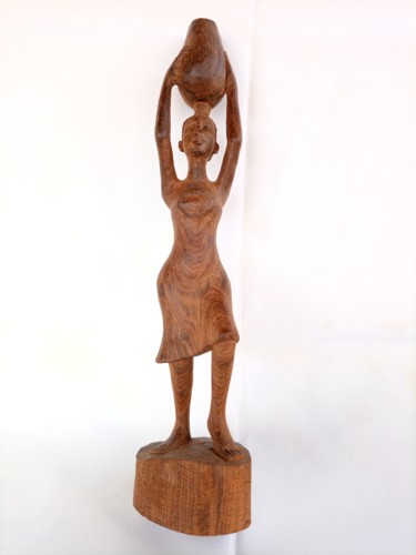 """Sculpture titled """"woman carrying on h…"""" by Jafeth Moiane, Original Art, Wood"""