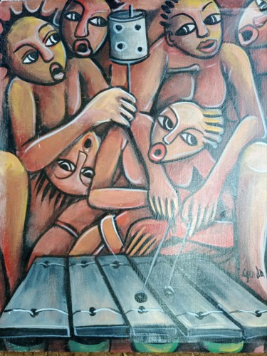 """Painting titled """"The musicians paint…"""" by Jafeth Moiane, Original Art, Oil"""