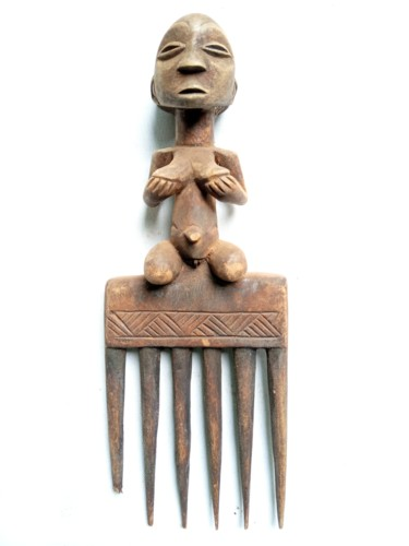 """Sculpture titled """"Luba comb,African t…"""" by Jafeth Moiane, Original Art, Wood"""