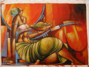 """Painting titled """"Woman fruit seller"""" by Jafeth Moiane, Original Art, Oil"""