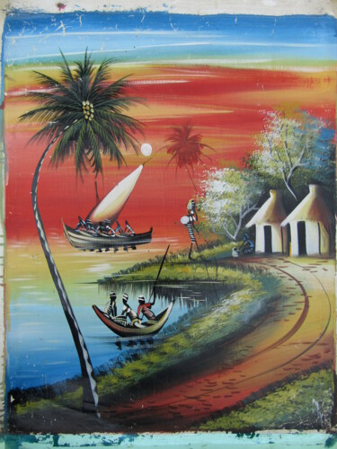 """Painting titled """"Fishing"""" by Jafeth Moiane, Original Art, Oil"""
