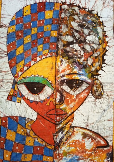 """Painting titled """"African beauty, bat…"""" by Jafeth Moiane, Original Art, Wax"""
