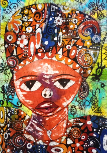 """Painting titled """"The African lady, b…"""" by Jafeth Moiane, Original Art, Wax"""