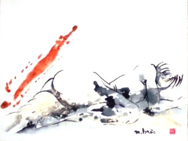 """Drawing titled """"Féline"""" by Monick Bres, Original Art, Ink"""
