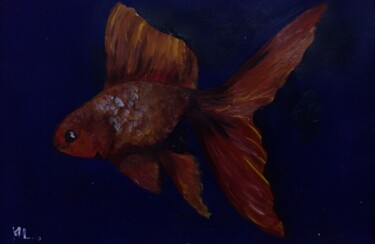 """Painting titled """"Golden fish"""" by Mounia Lachqar, Original Art, Oil"""