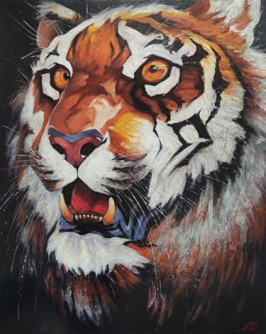 """Painting titled """"Tiger"""" by Movses Petrosyan, Original Art, Acrylic"""
