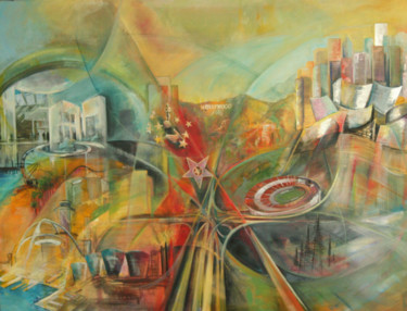 """Painting titled """"LOS ANGELES Overview"""" by Marie-Pierre Philippe-Lohézic (MPPL-ART), Original Art, Collages"""