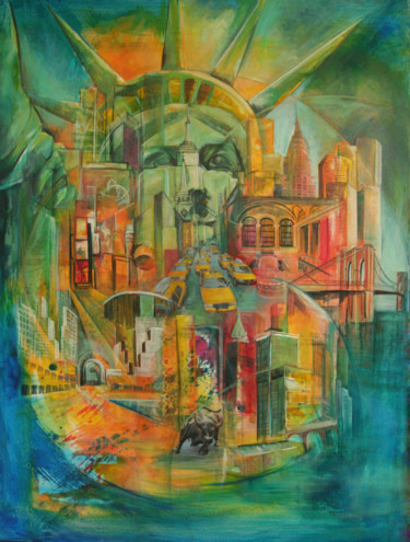 """Painting titled """"NEW YORK Overview"""" by Marie-Pierre Philippe-Lohézic (MPPL-ART), Original Art, Acrylic"""