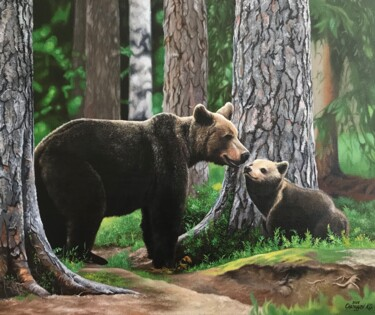"""Painting titled """"Bears in the conife…"""" by Kakajan Charyyev, Original Art, Oil Mounted on Stretcher frame"""