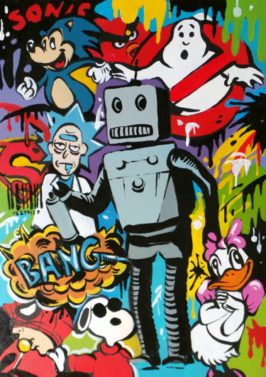 """Painting titled """"Love and Robots"""" by Mr. Baksy, Original Art, Acrylic"""