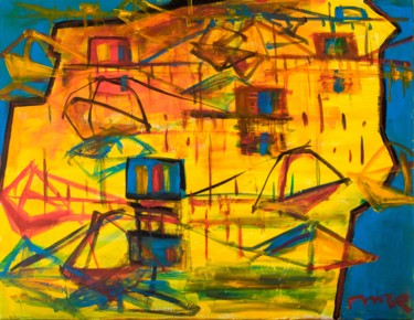 Painting, acrylic, abstract, artwork by Mentor Llunji