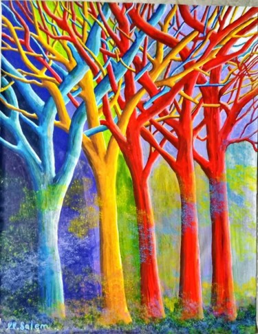 """Painting titled """"The Magical Forest"""" by Mohamed Salem, Original Art, Acrylic"""