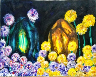 """Painting titled """"Flowers attracted t…"""" by Mohamed Salem, Original Art, Acrylic"""