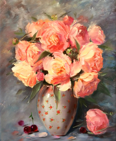"""Painting titled """"Peach blossoms of p…"""" by Marina Skromova, Original Art, Oil"""