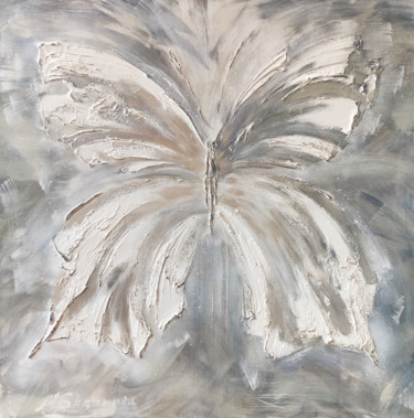 """Painting titled """"SILVER BUTTERFLY -…"""" by Marina Skromova, Original Art, Oil Mounted on Stretcher frame"""