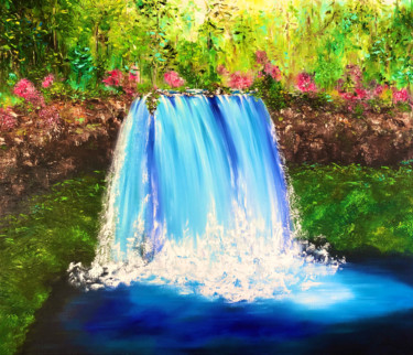 """Painting titled """"IN COOLNESS OF MOUN…"""" by Marina Skromova, Original Art, Oil Mounted on Stretcher frame"""