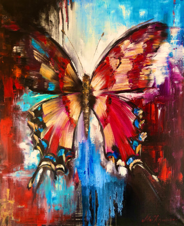 """Painting titled """"WINGS OF FIRE - Abs…"""" by Marina Skromova, Original Art, Oil Mounted on Stretcher frame"""