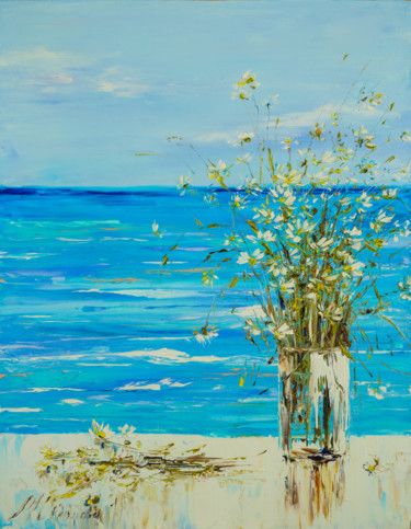"""Painting titled """"SEA VIEW - A beauti…"""" by Marina Skromova, Original Art, Oil Mounted on Wood Panel"""