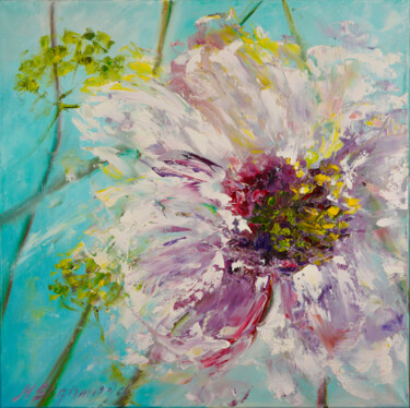 """Painting titled """"SUN - Floral Drawin…"""" by Marina Skromova, Original Art, Oil Mounted on Wood Panel"""
