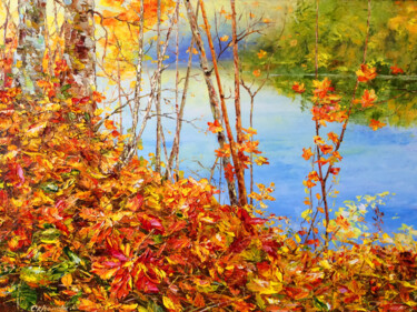 """Painting titled """"GOLDEN AUTUMN - For…"""" by Marina Skromova, Original Art, Oil Mounted on Wood Panel"""