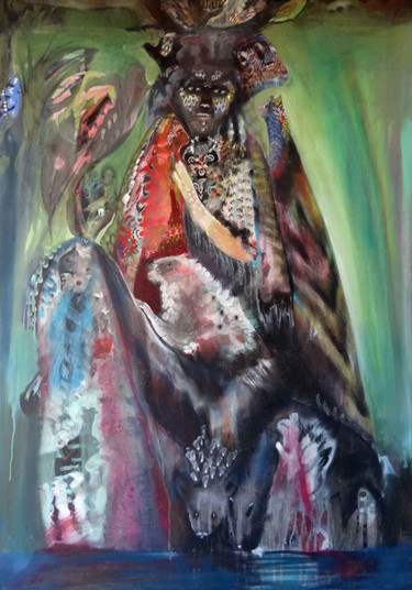 """Painting titled """"Femme sauvage"""" by Muriel Gabilan, Original Art, Acrylic Mounted on Stretcher frame"""