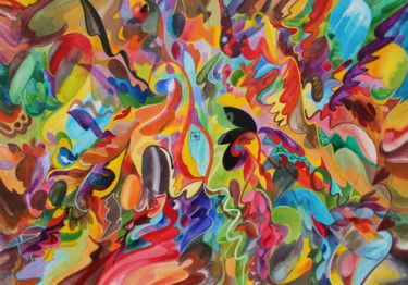 Painting, tempera, abstract, artwork by murielle-ginestet