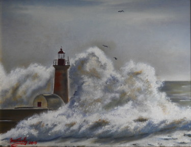 Seascape Painting, oil, hyperrealism, artwork by Marina Viñoly Apaolaza