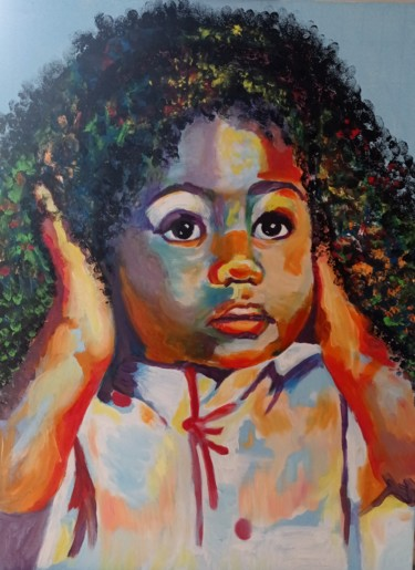 """Painting titled """"Petite fille"""" by Myriam.W, Original Art, Oil"""