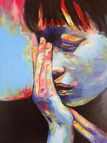 """Painting titled """"Introspection"""" by Myriam.W, Original Art, Oil Mounted on Stretcher frame"""
